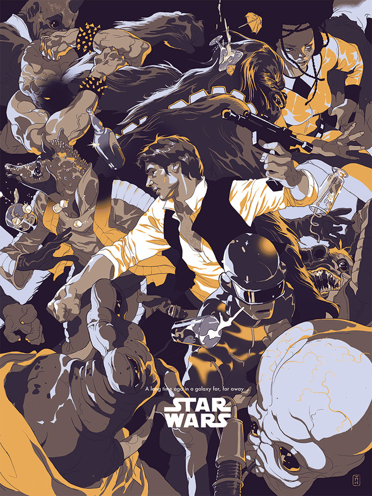 Star Wars Neon Han (reg) / Goldie Han (Var) - limited edition screen prints. Originally commissioned by Entertainment Weekly and art directed by Keir Novesky