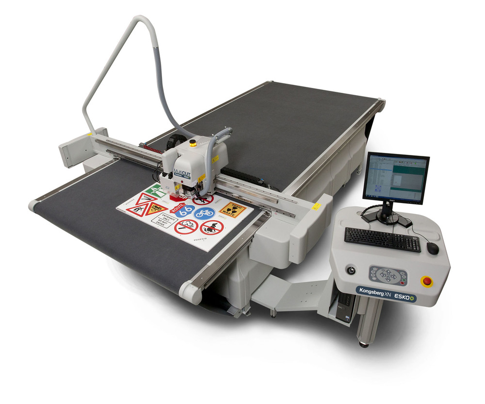 Our high-speed finishing table eliminates the need for die-cutting on small run projects. Perfect way to create custom packaging, sample boxes, large format cut-outs, custom shaped promotional signage... it even etches glass and metals!