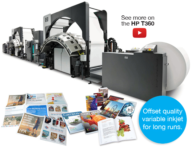 Our New HP T360 Inkjet Web Press brings the highest quality and a cost-effective way to produce large volumes of targeted direct-mail, magazines, retail circulars, and much more.