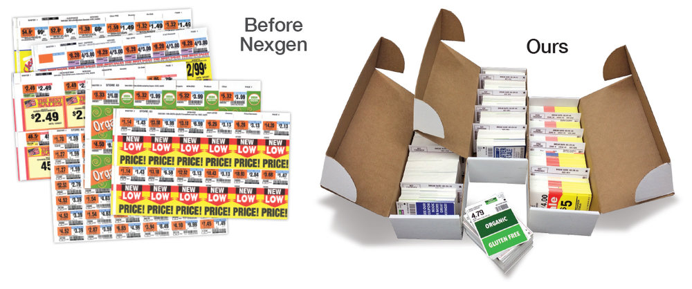 Nexgen shelf tags are always cut to size, boxed in planogram order, and ready to hang as you walk the aisles. No bursting or prep work saving up to 43% of labor costs at store level. Statistics from multiple independent time test comparison studies between Nexgen and innovation Management®.  Read full case study .