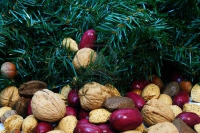 Brazil nuts, pecans, and walnuts under a Christmas tree. Photo credit: 123rf.com