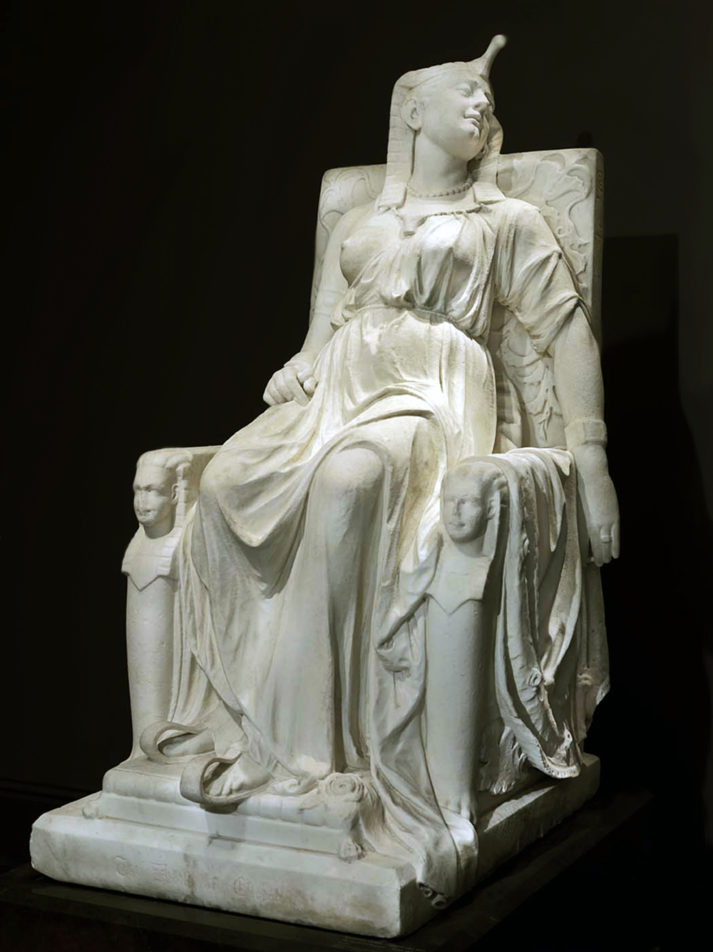 The Death of Cleopatra, a monumental 3,015-pound marble sculpture created for the 1876 Centennial Exposition in Philadelphia. After being lost for a century, the sculpture can now be found at the Smithsonian American Art Museum. Source: Wikipedia.org