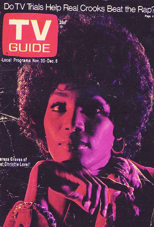 "Teresa Graves on the cover of TV guide for her starring role in ""Get Christie Love!"""