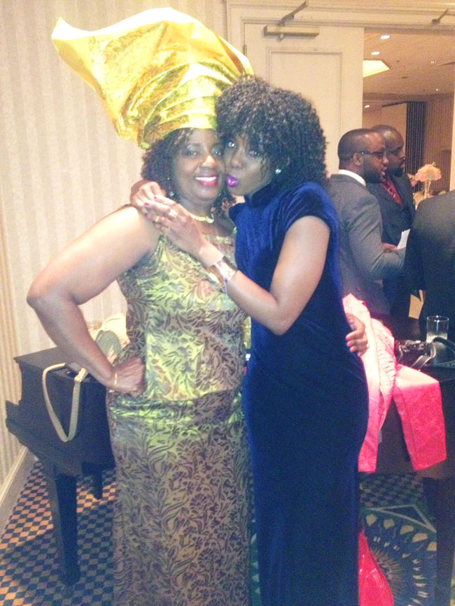 Joy and mom at Nigerian wedding