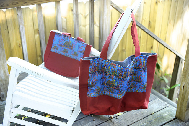 Tribal Tree totes with cargo bag, zip clutches & eyeglass case