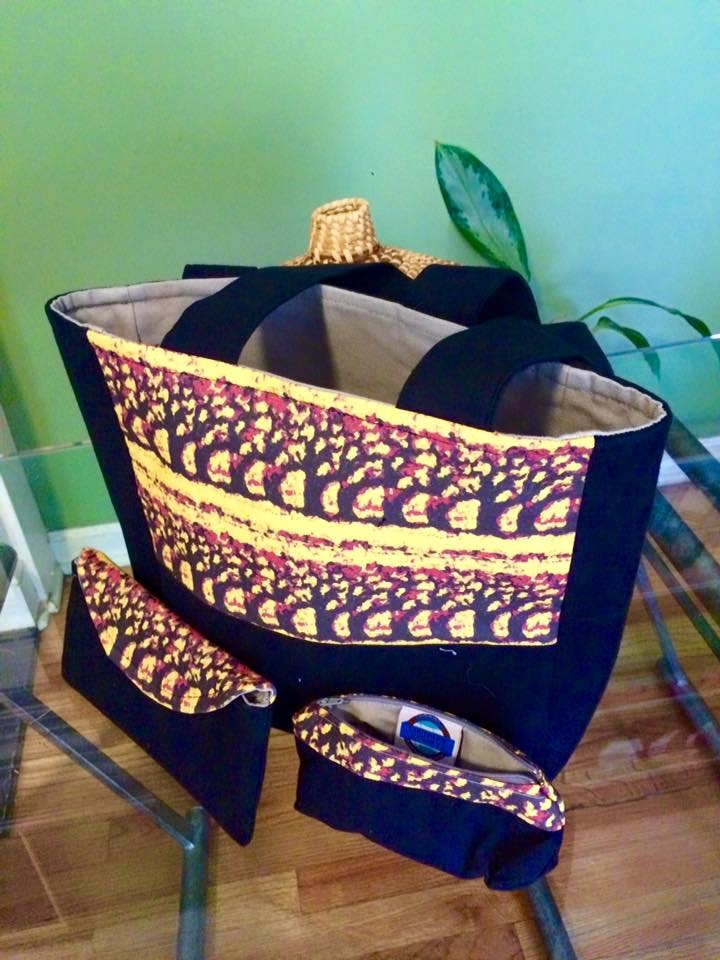 Wisdom tote with zip clutches and eyeglass case