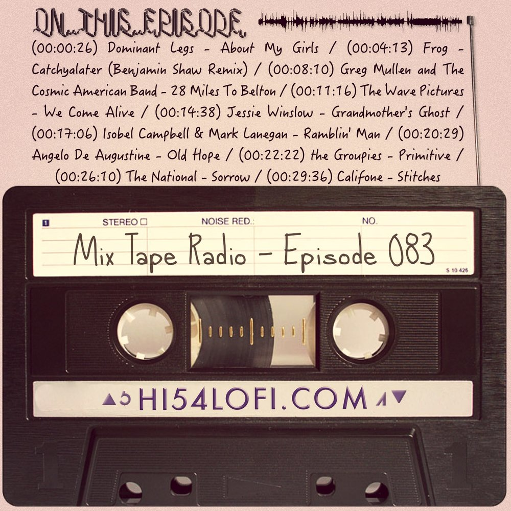 EPISODE 083 kicks off with Dominant Legs singing about their girls, and before Califone closes things up with Stitches, you'll hear Benjamin Shaw remixing Frog, Jessie Winslow, Angelo de Augustine and a bunch more. So locate the play button and grab your headphones. - - @HI54LOFI