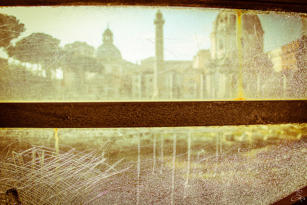 Ancient Rome behind a glass. Rome, Italy.