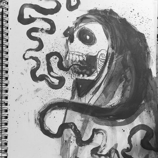14/100 #100dayproject #inprogress #ink #gouache #watercolor #skull #reaper #character #sketch