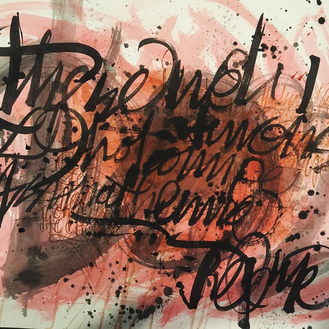 "Beginning of a large painting. 40"" x 32"" on illustration board. #100dayproject 21/100 #ink #brush #watercolor #gouache #script #lettering #fb #drawing"