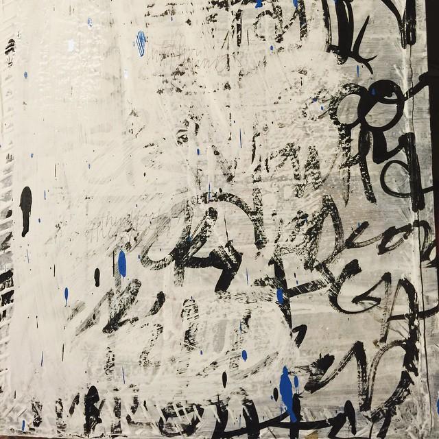 23/100 #100dayproject #recycledsilkscreen #ink #acrylic #script #aerosol #ballpoint #gouache