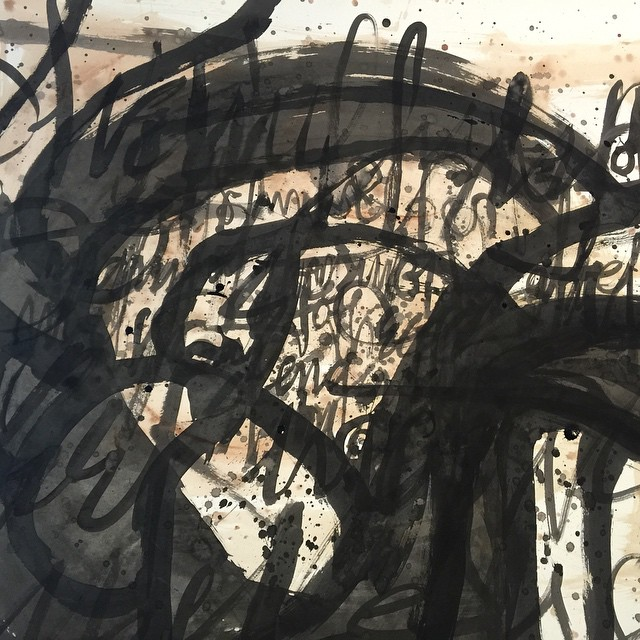 """Last one for today... A detail of a work in progress. 42""""x30"""" illustration board. #100dayproject 44/100 #ink #watercolor #brush #lettering #script #abstract #drawing"""