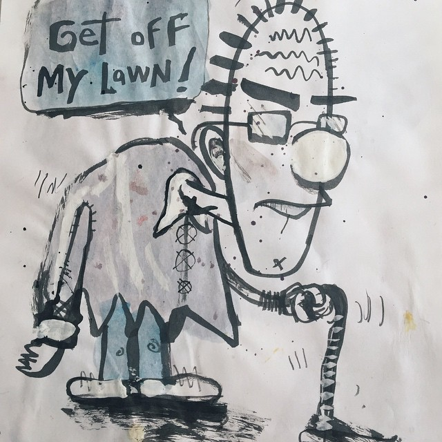 Get off my lawn! 51/100 #100dayproject #ink #brush #character #drawing #sketch