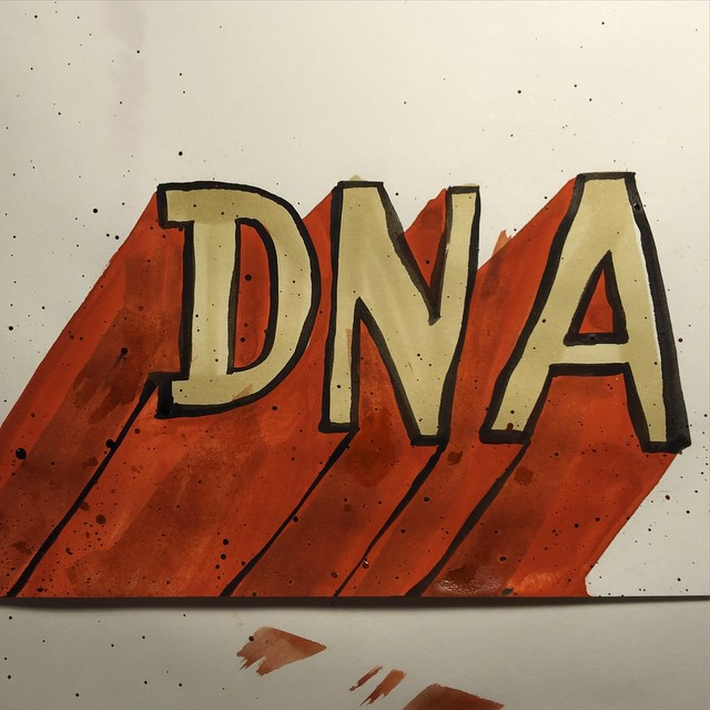 DNA 59/100 #100dayproject #gouache #watercolor #ink #brush #lettering #handlettering #drawing