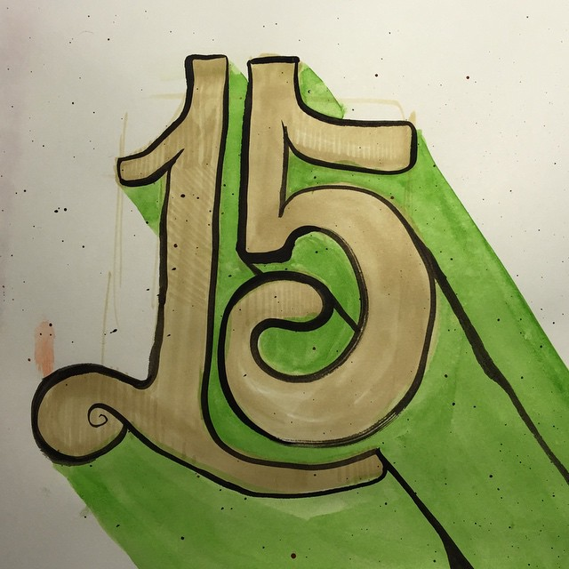 """Another """"15"""" lettering piece. 60/100 #100dayproject #brush #lettering #gouache #watercolor #ink #drawing"""