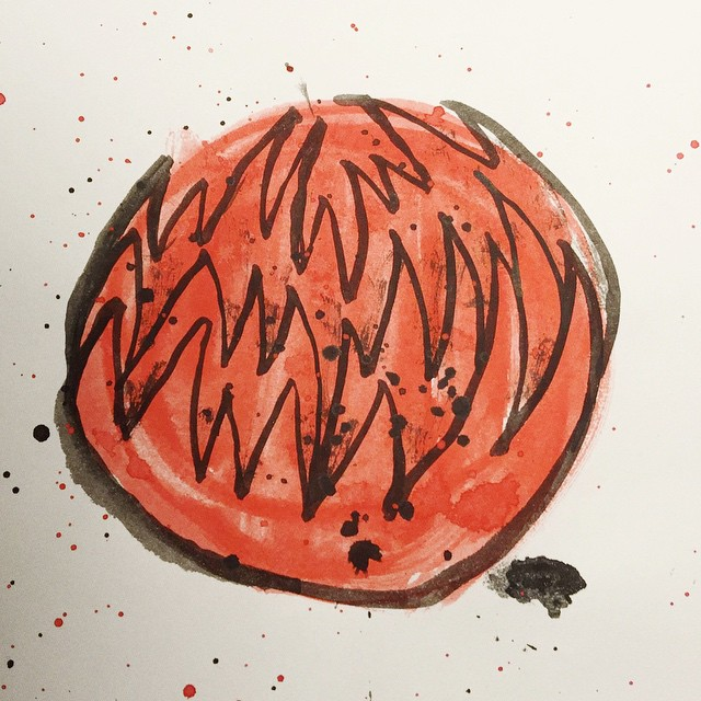 Thorny ball 68/100 #winsornewton #100dayproject #brush #ink #drawing