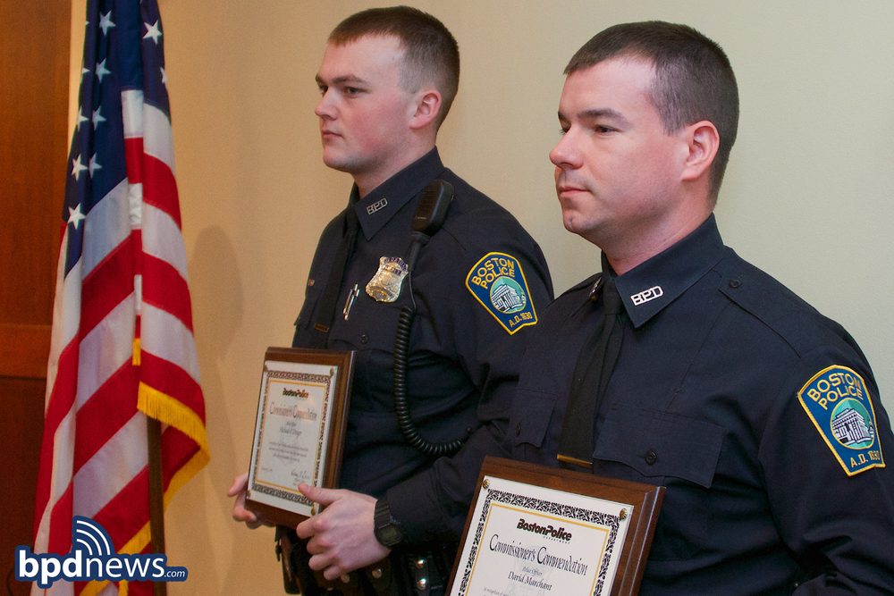 OFFICERS MARCHANT & O'DWYER RECEIVING A COMMENDATION