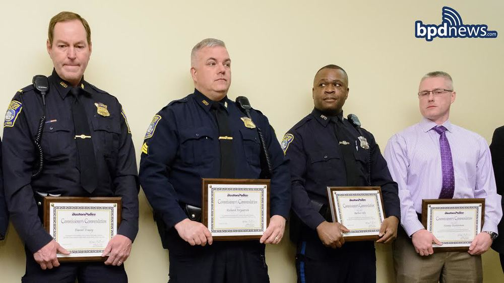 From left to right: Lieutenant Daneil Tracey, Sergeant Richard Fitzpatrick, Officer Berlino Felix, and Detective Paul Schroeder.