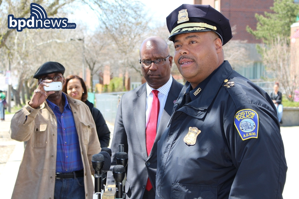 Chief William Gross addresses media outside NAACP Boston headquarters in Roxbury.