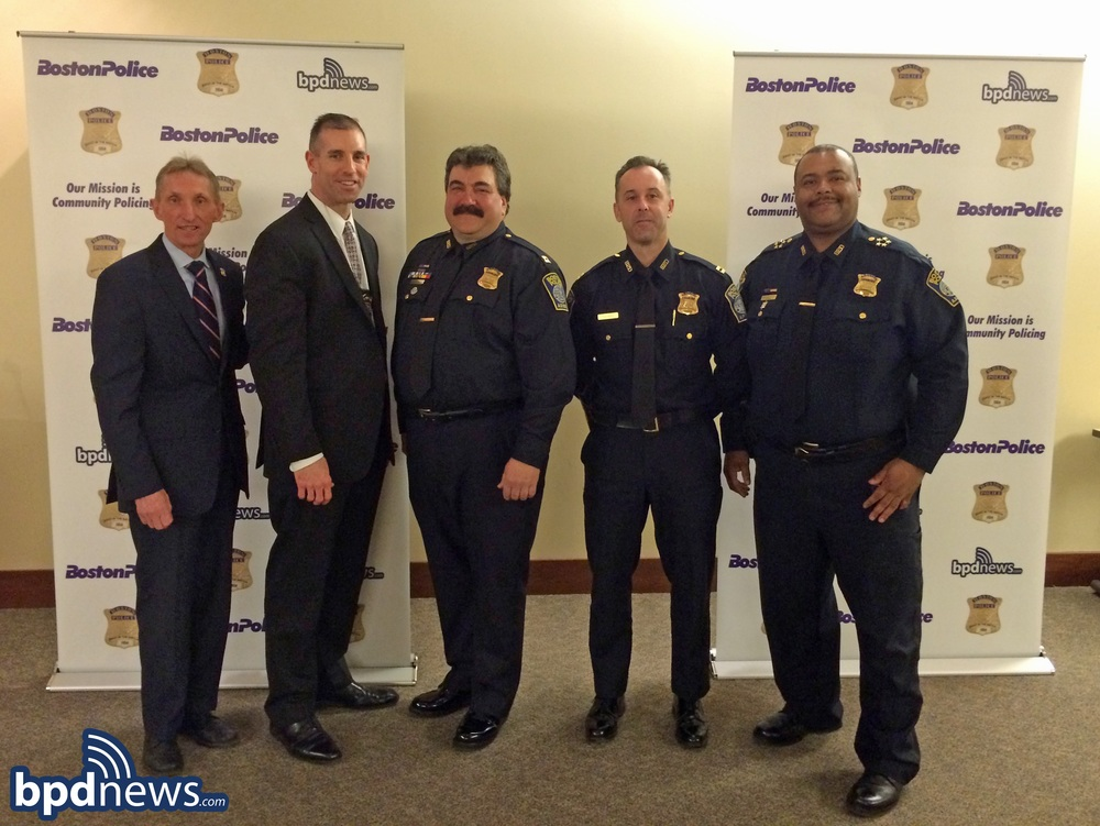From Left to Right:  Commissioner Evans, Captain Long, Captain Terenzi, Captain Thomas, Superintendent in Chief Gross.