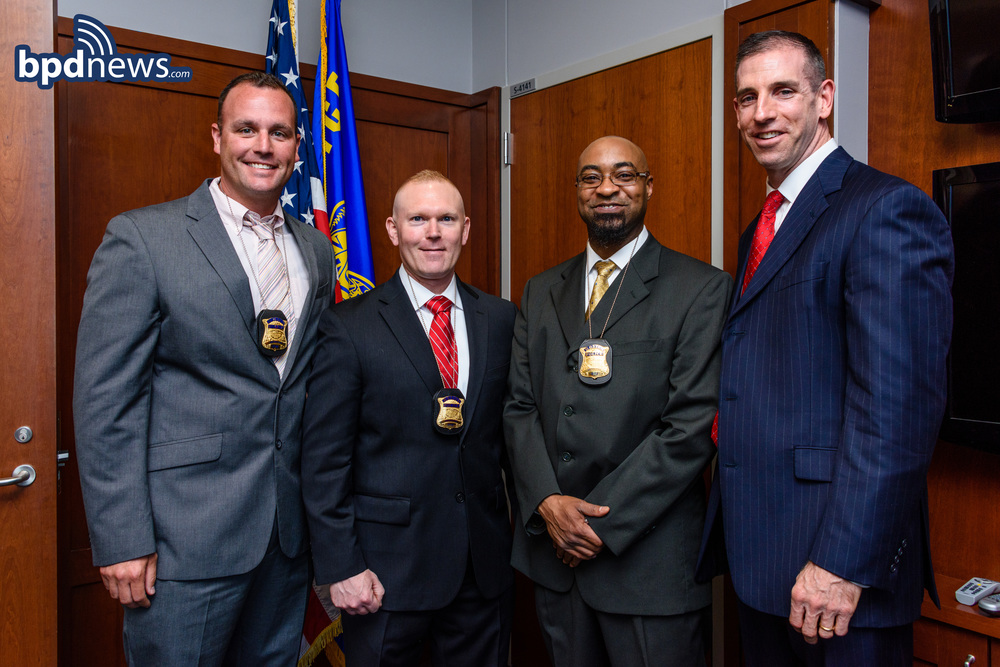 Detectives pictured with Superintendent Gregory Long (Far Right)