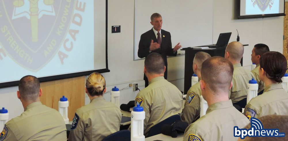 Commissioner Evans talks to Recruit Class 56-16