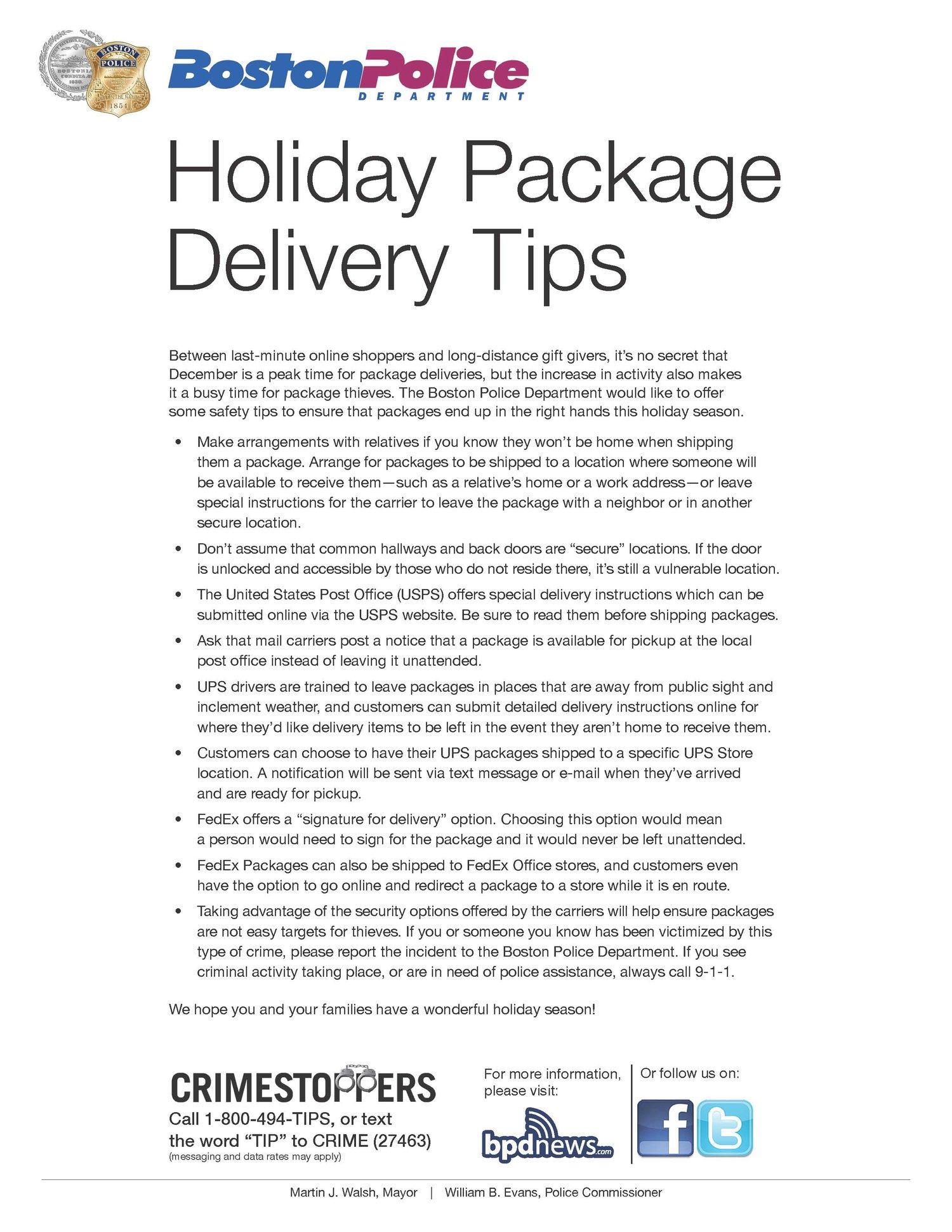 BPD Community Advisory: Holiday Package Theft — bpdnews com