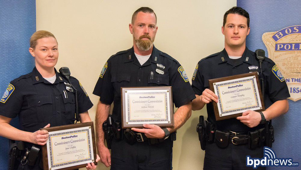 Earlier today, on Thursday May 17, 2018, during a ceremony held at Boston  Police Headquarters, Officers Joshua Delisle, Jane Claflin and Connor  Murphy ...