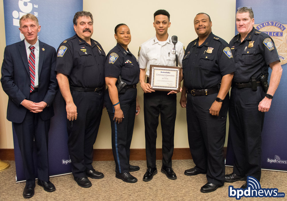 Earlier today, on Thursday May 17, 2018, during a ceremony held at Boston  Police Headquarters, Boston Police Cadet Jose Correia, currently assigned  to the ...