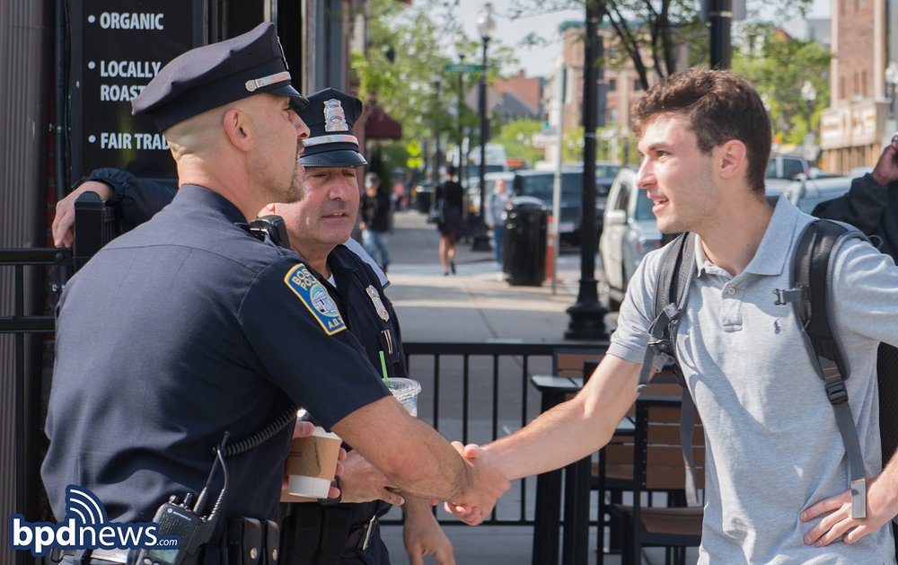 BPD in the Community: Coffee with a Cop Stops by the Americano Espresso Bar  in East Boston