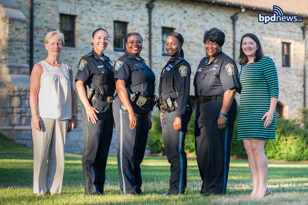 Pictured From L to R: Sergeant Detective Kelley O'Connell, Deputy Nora Baston (accepting award on behalf of Civilian Elizabeth Campbell), Police Officer Nicole Grant, Police Officer Kerline Desir, Police Officer Leoutrah Tabb, Civilian Jennifer Gillis