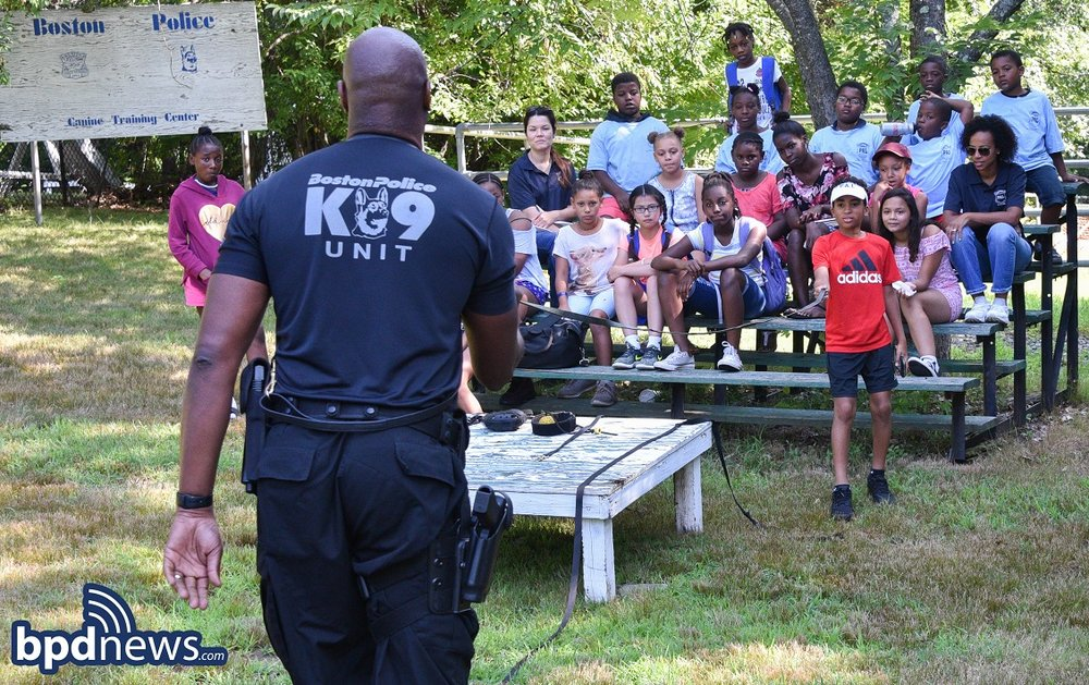 BPD in The Community: Kids from Junior Police Academy Get a Behind-the-Scenes Tour of the BPD's K-9 Unit