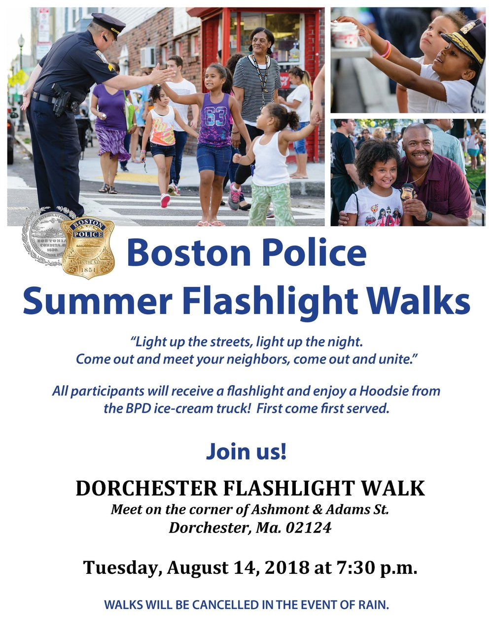 BPD in the Community: We Hope to See You Tonight at the Boston Police Summer Flashlight Walk in Dorchester