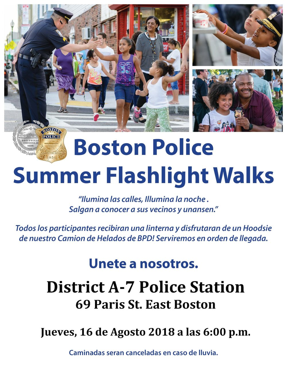 BPD en la Comunidad: Esperamos Verte Mañana en Boston Police Summer Linterna Walk en East Boston