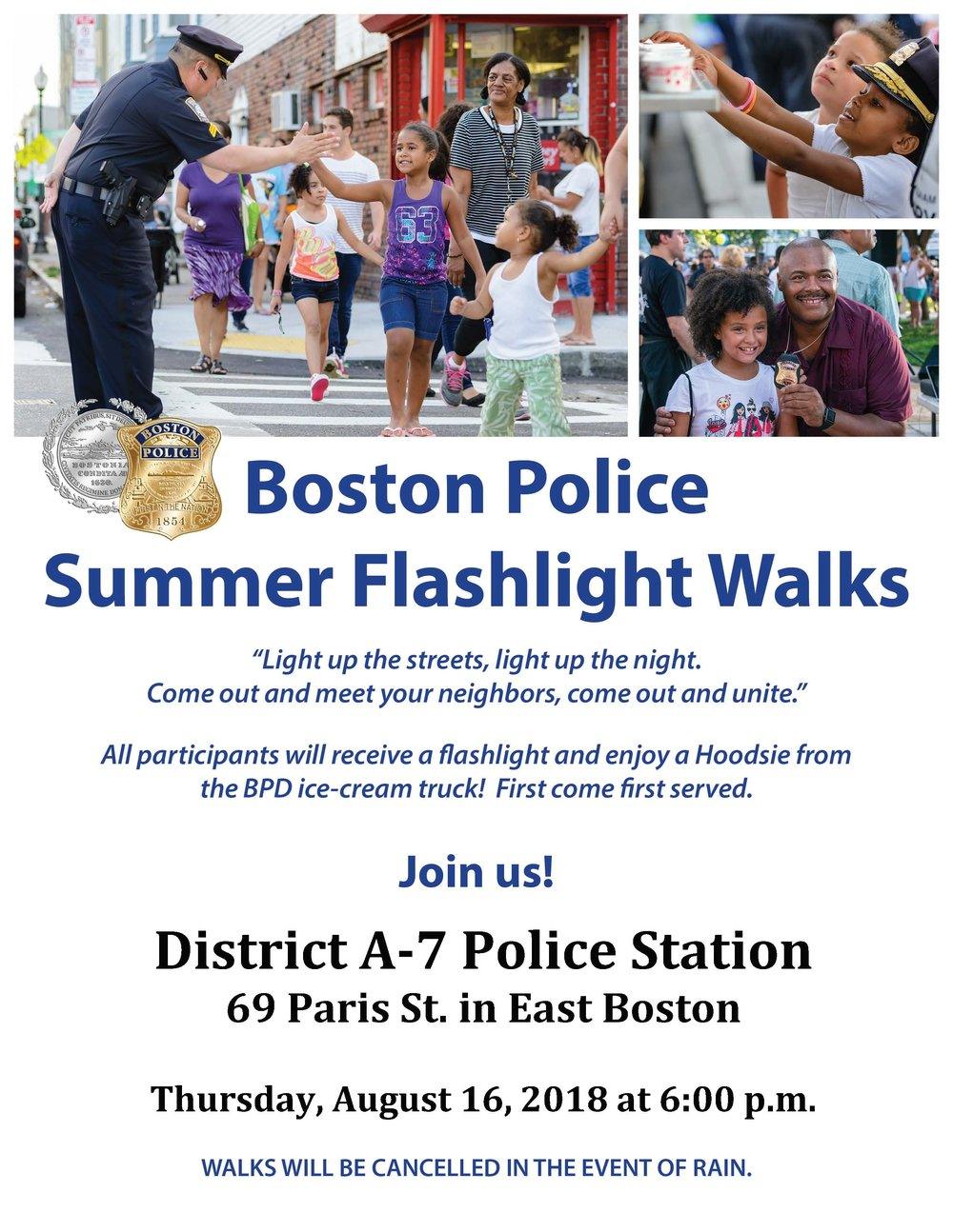 BPD in the Community: We Hope to See You Tomorrow Night at the Boston Police Summer Flashlight Walk in East Boston