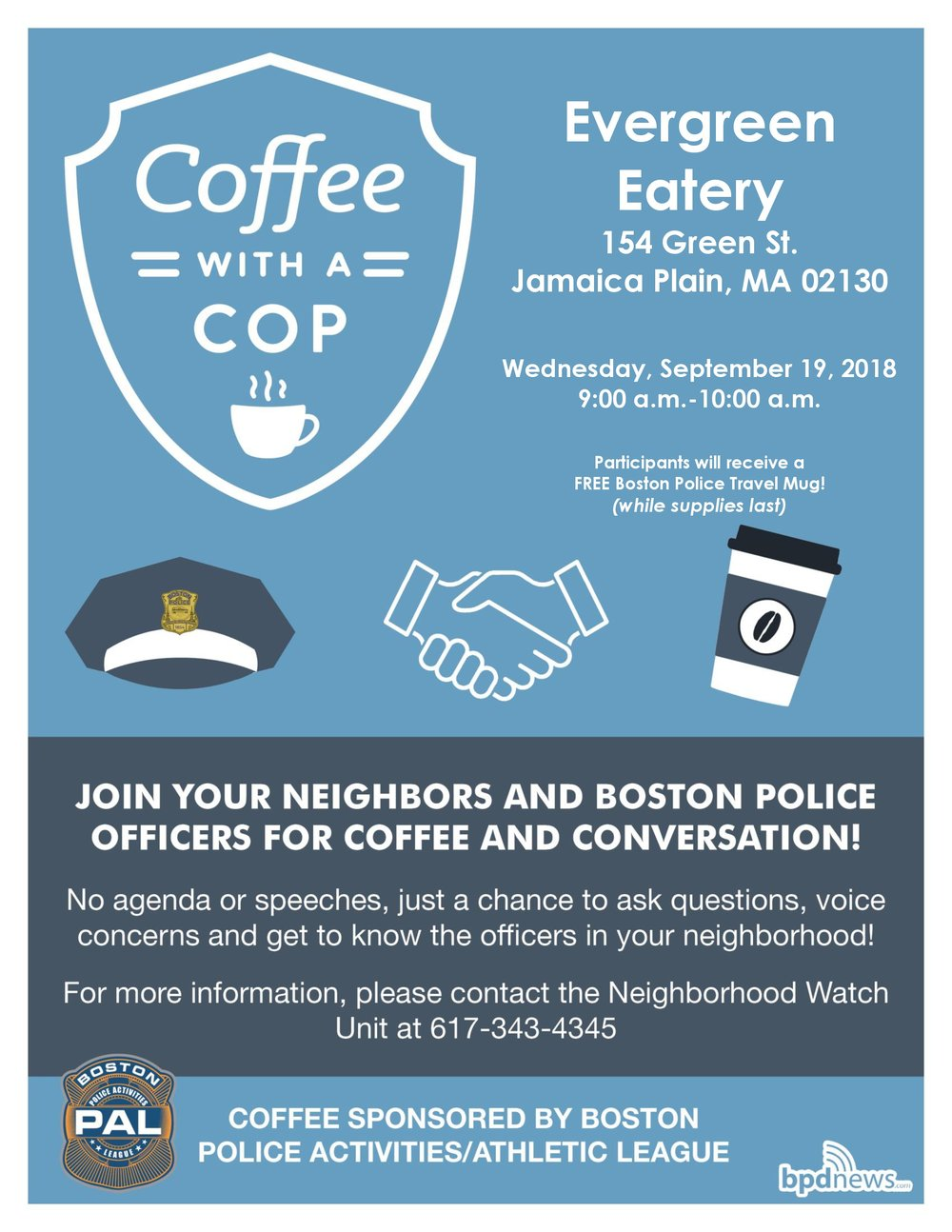 Coffee with a Cop Coming to Evergreen Eatery in Jamaica Plain!