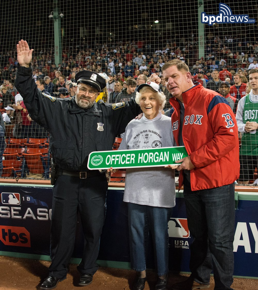 Red Sox Bullpen Cop Steve Horgan Throws the First Pitch Before His Retirement