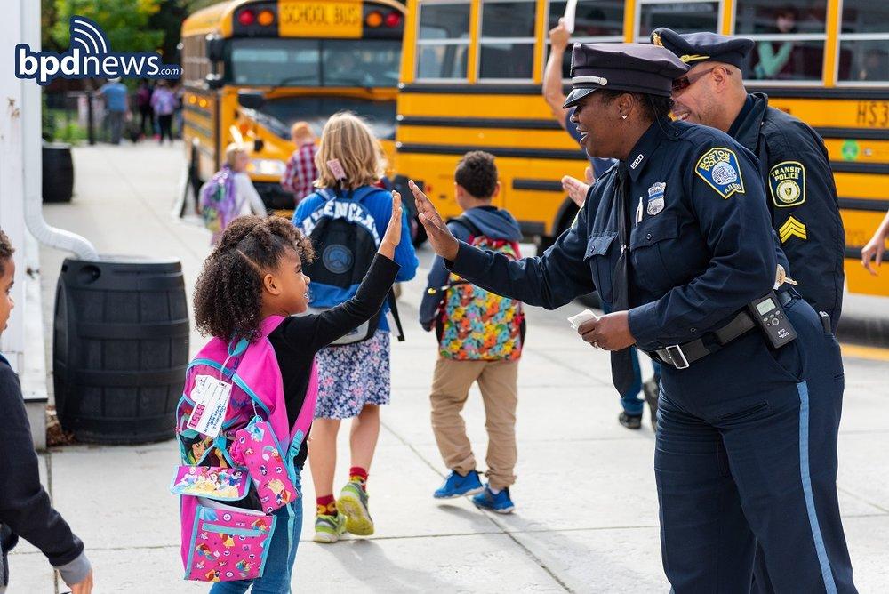 BPD in the Community: Hi-5-Friday stops by the Dennis Haley School in Roslindale