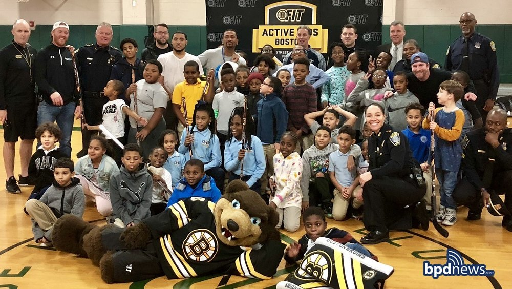 BPD In The Community: Bruins and Boston's Finest Team Up to Teach Kids in Dorchester about Physical Fitness