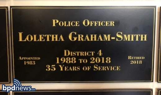 59afda338cf6 Earlier today, on Friday November 30, 2018, Officer Loletha Graham-Smith  was honored at her final roll call before her retirement after 35 years of  service ...