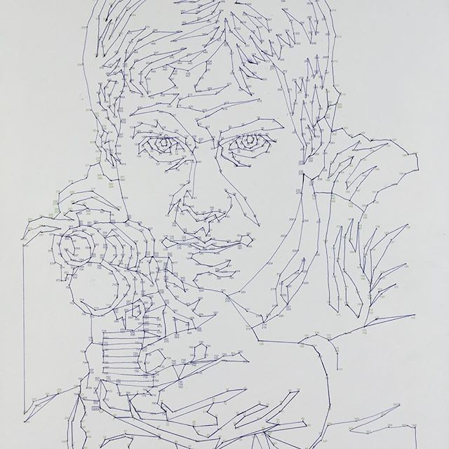 Dot to dot for adults. Just did Han Solo. 1136 dots. #dot2dot #starwars #hansolo