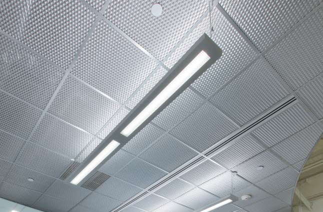 "METALWORKS Mesh - Expanded Metal 24"" x 24"" ceiling panel Custom finishes Price: $10-11 per SF (includes grid)-10/4/2012. Link to web"