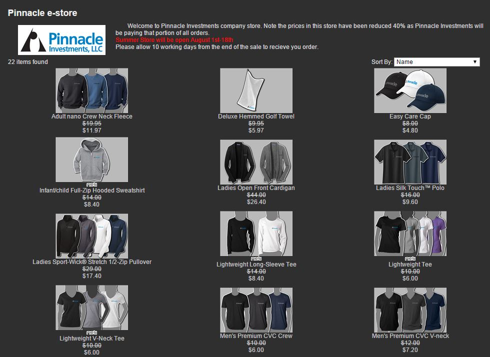 Screen shot of one of our cooperate stores.