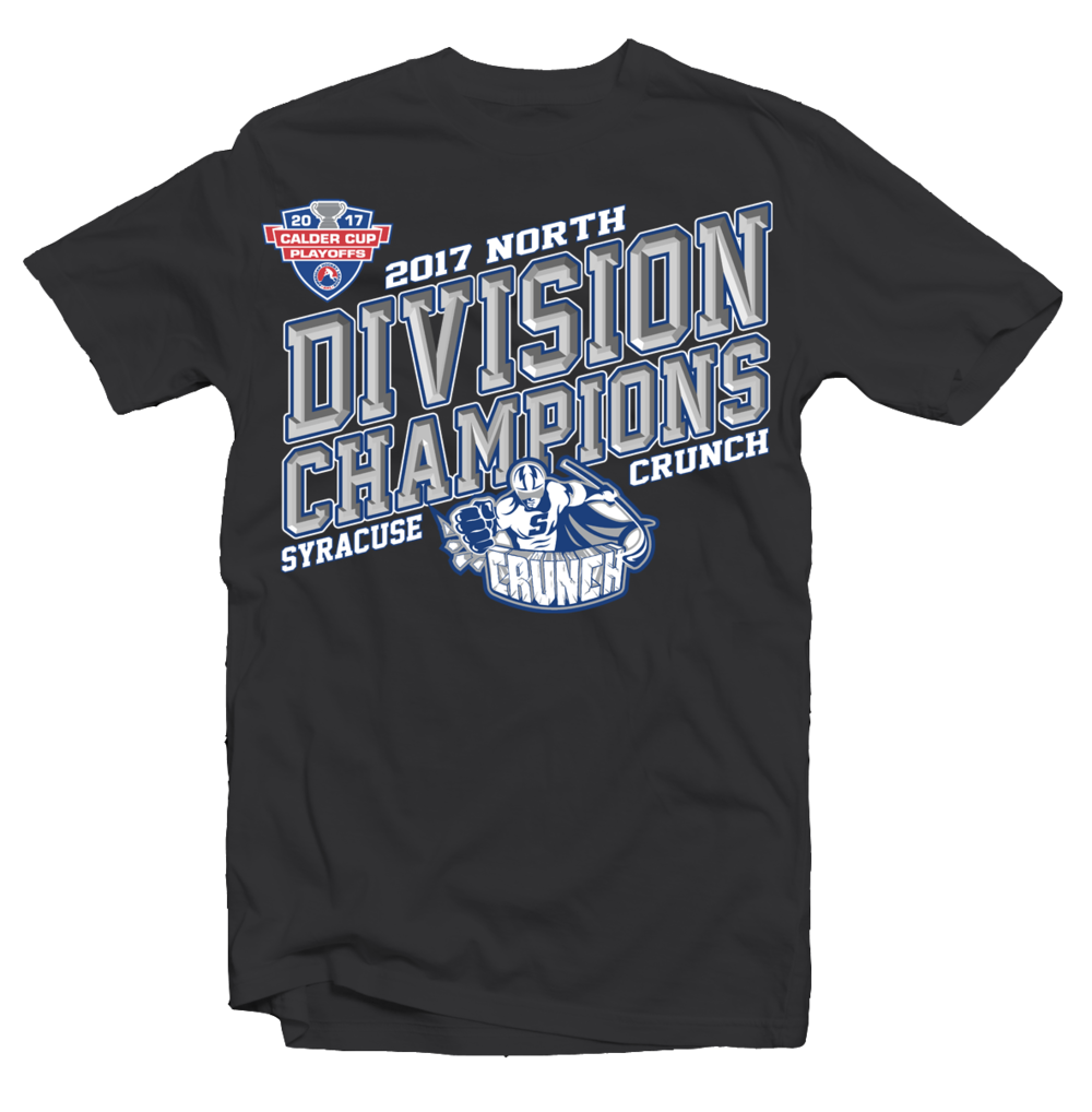 We are licenced to design and print for all of the the pro teams in Syracuse as well SU Athletics and some other Division I Universities. This is an example of one of my championship designs for our Hockey team's 2017 Calder Cup run. Go Crunch!