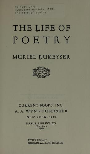 Title page, The Life of Poetry (1949; 1968 repr)
