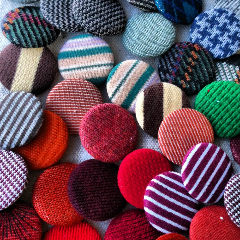 Multicolored buttons made from my leftover fabric scraps.