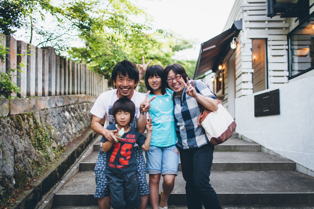 The Sakai family outside Asuwayama Deck.