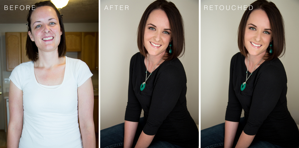Most of the transformation happened with her hair and makeup styling. Of course, lighting and posing certainly helped, but you can see that Photoshop did very little.