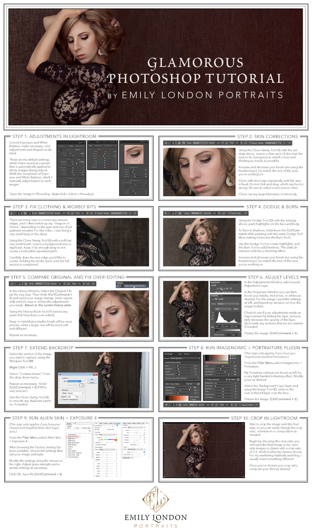 In this tutorial, Utah Glamor Portrait Photographer, Emily London, will teach how toedit a modern glamour portrait in Photoshop.