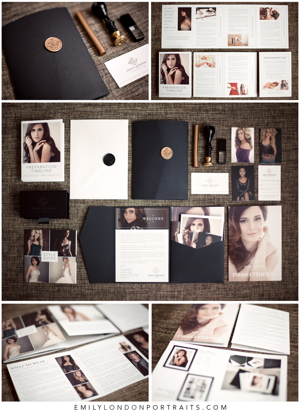 A beautiful welcome packet is sent to every client after she books a modern glamour photoshoot with Emily London Portraits in Utah.